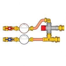 """Комплект водосчетчиков с термосмесительным клапаном 3/4"""" cold water + hot Giacomini GE550-1 GE550Y111"""