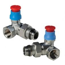 """Угловой термостатический клапан для радиатора отопления 2-плоскостной правый 1/2"""" x 18 - прав. Giacomini R403TG R403X034"""