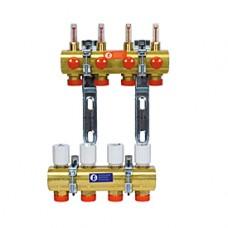 """Сборный коллектор для систем водяного радиаторного отопления и теплого пола с расходомерами 1x3/4""""E /2 Giacomini R553F R553FY042"""