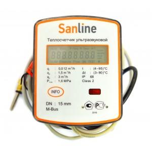 Теплосчетчик ультразвуковой SanLine, расход 0.6 куб.м/ч, Ду15, M-Bus, IP 68